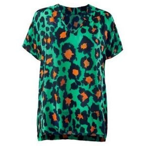CAbi 5023 Rita teal orange leopard top medium